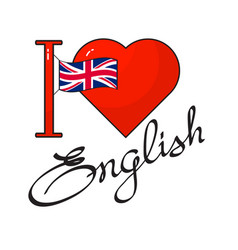English language day concept flag heart and vector