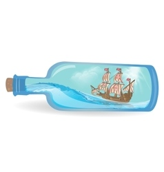Flat design ship in a bottle vector