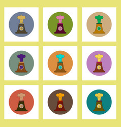 Flat icons set of volcano explosion and clock vector
