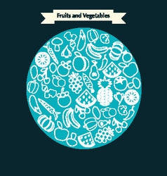 Fruits and Vegetables icons Set of Outline stroke vector image