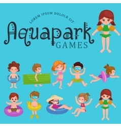 girl and boy in swimsuit isolated kids summer vector image