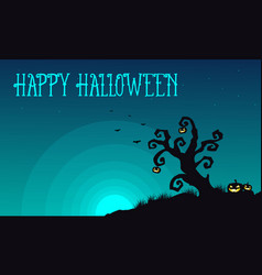 Halloween with tree and pumpkin background vector