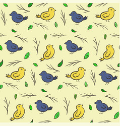 Hand drawn seamless pattern with colorful birds vector