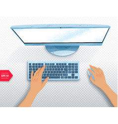 hands with desktop computer vector image