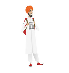 hindu traveler man with backpack and binoculars vector image