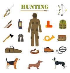 Hunting equipment kit with rifle knife suit vector