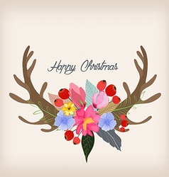 Lovely of deer head and spring flowers and plants vector