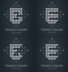 Modern stylish low poly logo with letter E Set of vector image vector image