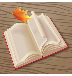 Open book and leaf vector