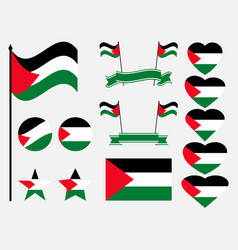 palestine flag set collection of symbols flag vector image