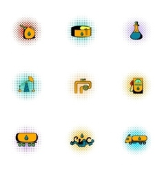 Petroleum icons set pop-art style vector