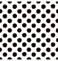 Polka dot black and white painted seamless pattern vector