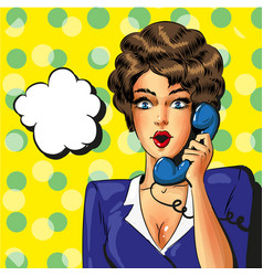 pop art vintage business woman talking on vector image