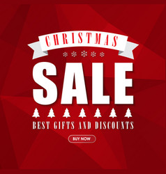 Red banner template background for christmas sales vector