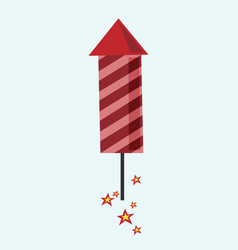 red fireworks rocket flying vector image vector image
