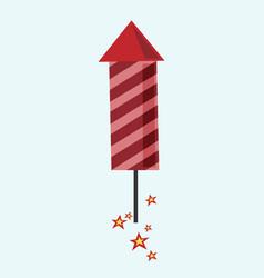 Red fireworks rocket flying vector