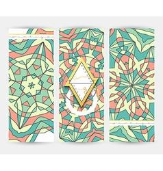 Set of 3 banner Mandala geometric pattern vector image vector image