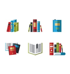 Set of book icons in flat design style vector image vector image
