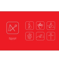 Set of Egypt simple icons vector image