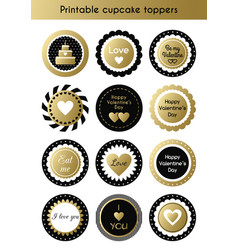 Set of printable gold and black cupcake toppers vector