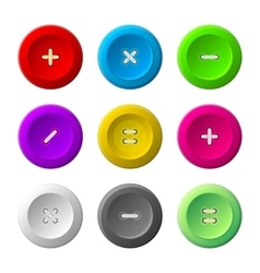 Sewing Buttons Set on White Background vector image vector image