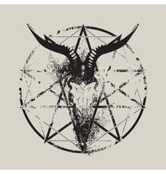 Skull of goat and pentagram vector