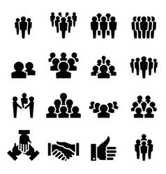 team icon set vector image vector image