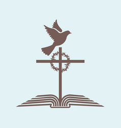 the cross of jesus and the bible with the dove vector image