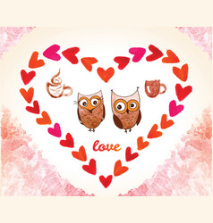 valentines day card with owl and watercolor vector image vector image