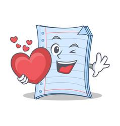 With heart notebook character cartoon design vector