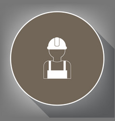 Worker sign white icon on brown circle vector