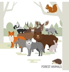 Forest animals composition moose wild boar bear vector
