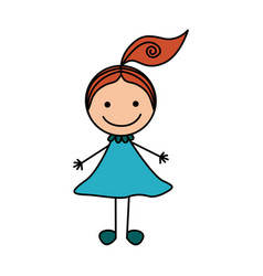 colorful hand drawing cute girl with red hair vector image