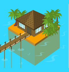 Bungalow on the ocean with palm trees tropical vector