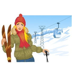 Girl with skis on the background with cable-way vector