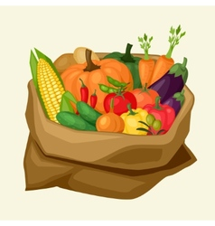 Stylized sack with fresh ripe vegetables vector