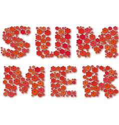 Summer lettering made of red paper flowers vector