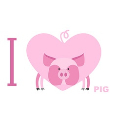 I love pig symbol of heart of a pig for l vector