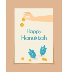 hanukkah game  hand spining dreidel vector image