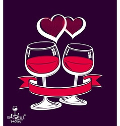 Two wineglasses artistic wedding couple vector