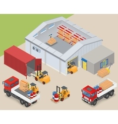 Isometric warehouse industrial scene vector