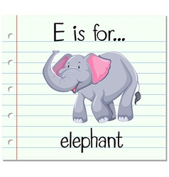 Flashcard alphabet e is for elephant vector