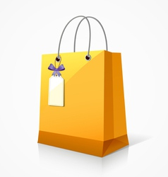 Shopping yellow paper bag vector image
