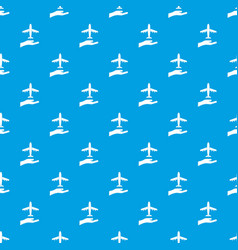 Airplane and palm pattern seamless blue vector