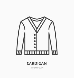 Cardigan sweater flat line icon apparel store vector