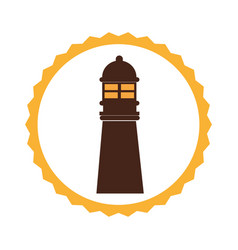 circular frame with tower of lighthouse vector image