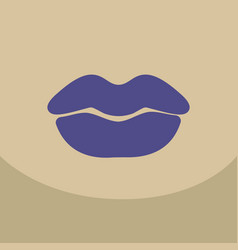 Color lips biting retro icon isolated on vector