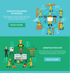 construction worker flat banner set vector image