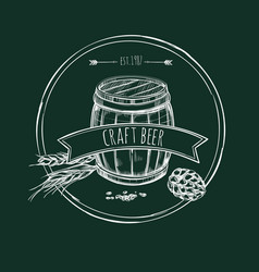 Craft beer hand drawn template vector