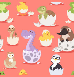 cute new born animals in eggs easter seamless vector image